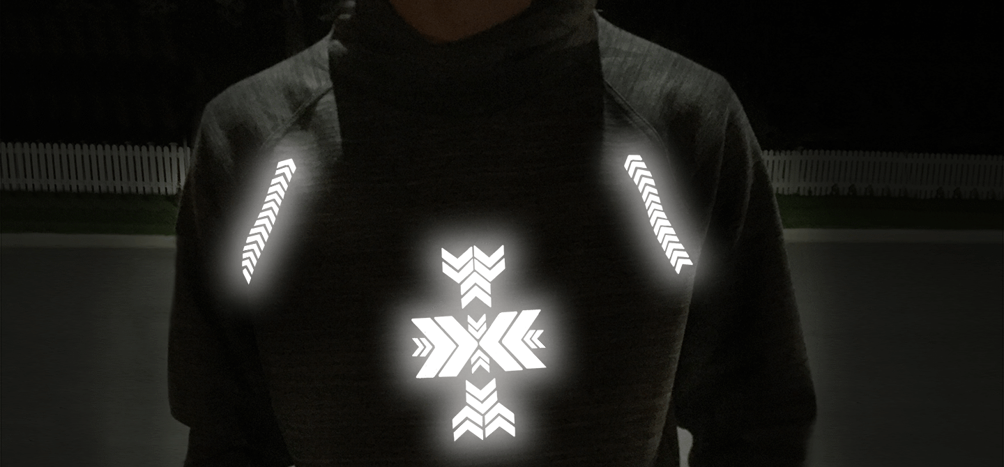 Reflective iron-on design from Noktillu.Be seen walking, cycling, hiking, playing, running, camping, training.  Be visible and enjoy the outdoors with our high visibility, hi vis reflective heat transfers.