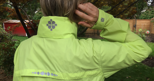 High visibility reflective iron-on decals. Made with 3M™ Scotchlite™ Reflective Material. Feel safer, hiking, walking, running. Create your own reflective outfit, apparel, activewear. Customizable, easy to apply, do it yourself. Noktillu Clover design.