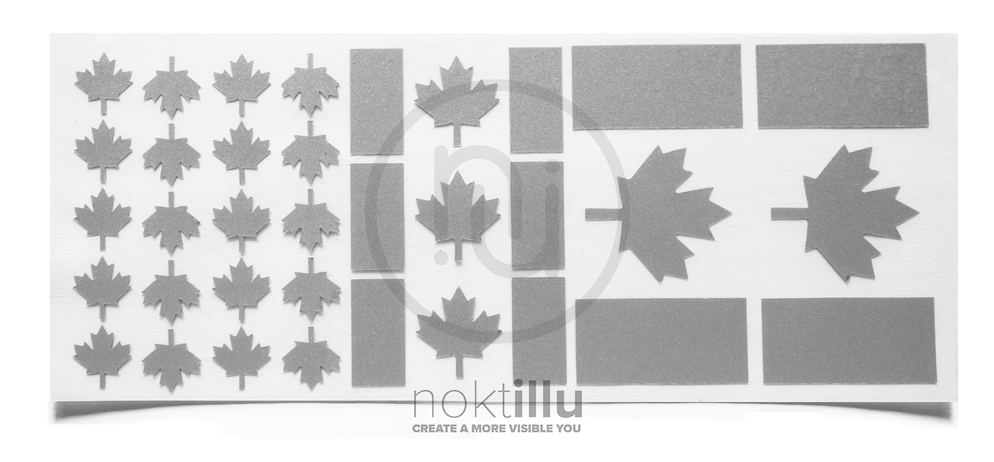 Canadian Flag - Noktillu - Reflective Design - High Visibility. Ensure to be seen at night, dusk, and dawn. Fully customizable for most fabric and accessories. For outdoor lovers.