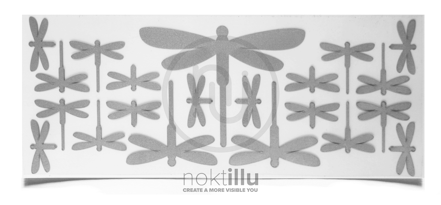 Dragonfly - Noktillu - Reflective Design - High Visibility. Ensuring high visibility at night, dusk, and dawn. Customizable on most fabric and gear you use outdoors.