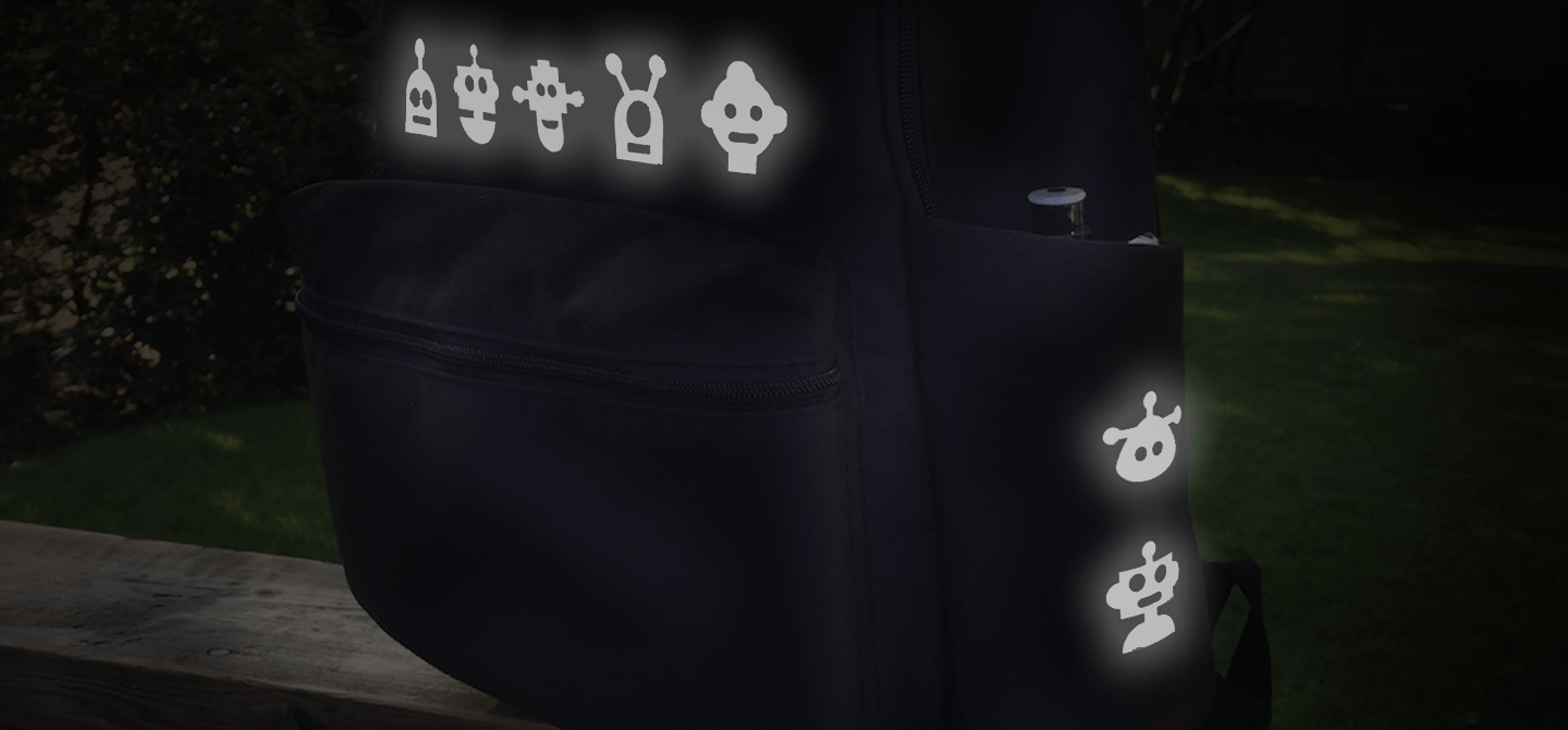 Robots - Noktillu - Reflective Decal - High Visibility - 3M™ Scotchlite™ Reflective Material-Backpack-Back to school