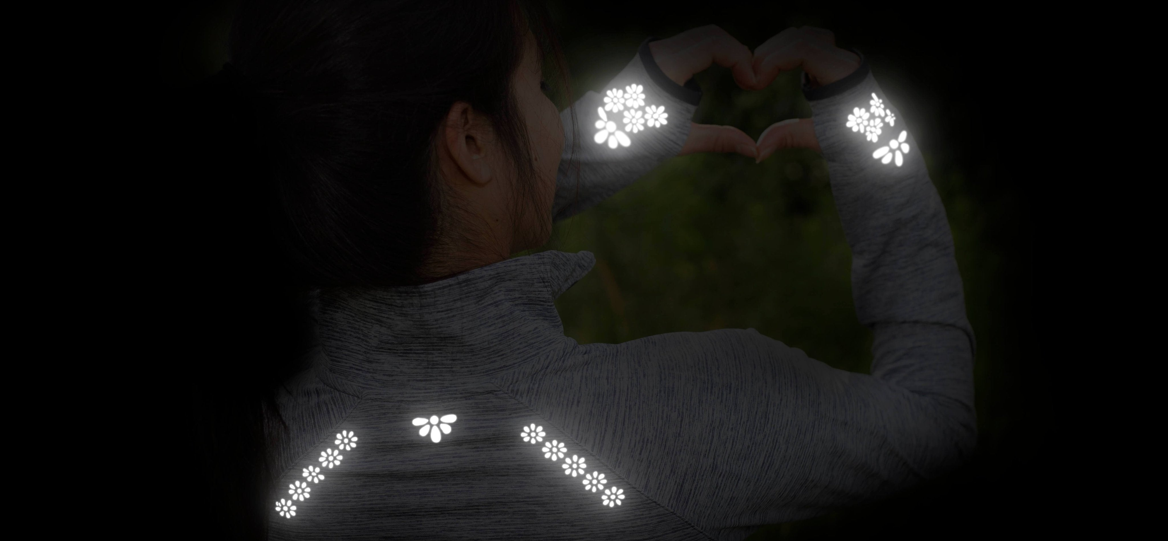 High visibility reflective iron-on decals. Made with 3M™ Scotchlite™ Reflective Material. Feel safer, hiking, walking, running. Create your own reflective outfit, apparel, activewear. Customizable, easy to apply, do it yourself. Noktillu Flower Petals design.