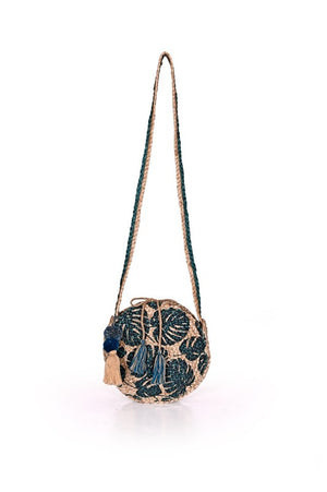 Load image into Gallery viewer, Tropical Leaf Imprinted Jute Crossbody Bag