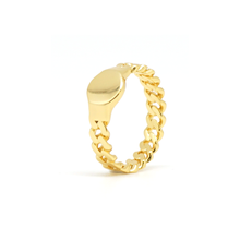 Cuban Link Gold Circle Ring