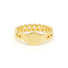 Load image into Gallery viewer, Cuban Link Gold Circle Ring