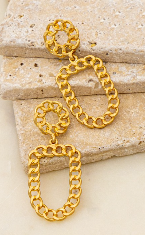 Curb Chain Round Earrings