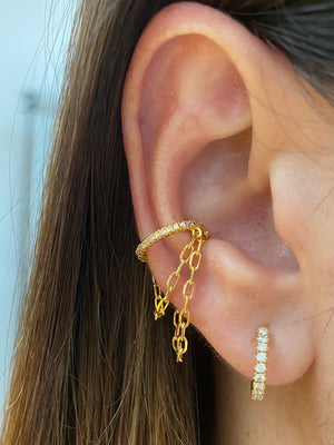 Load image into Gallery viewer, CZ Chain Ear Cuff