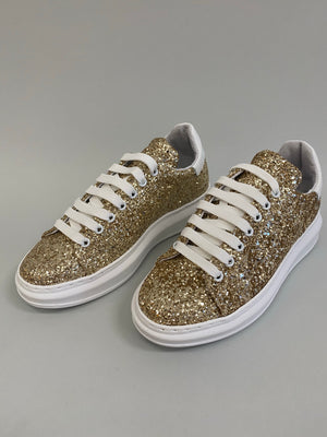 Load image into Gallery viewer, Gold Glitter Sneakers