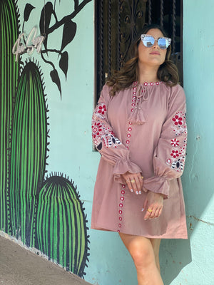 Embroidered Sleeves Dress