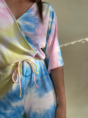 Load image into Gallery viewer, Tie Dye Kimono Romper