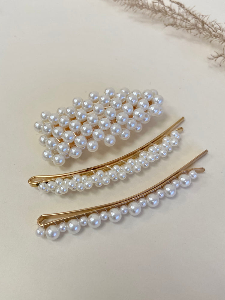 Trio Pearls Hair Pins