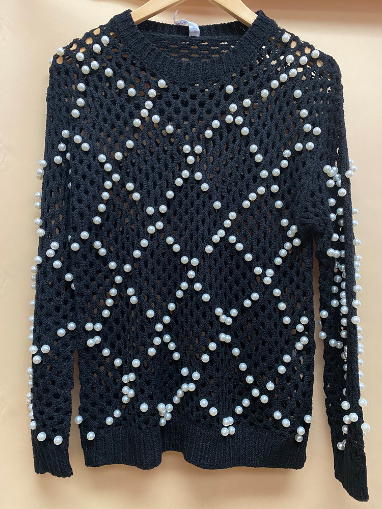 Pearls Mesh Sweater