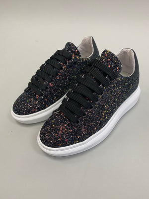 Load image into Gallery viewer, Black Glitter Sneakers