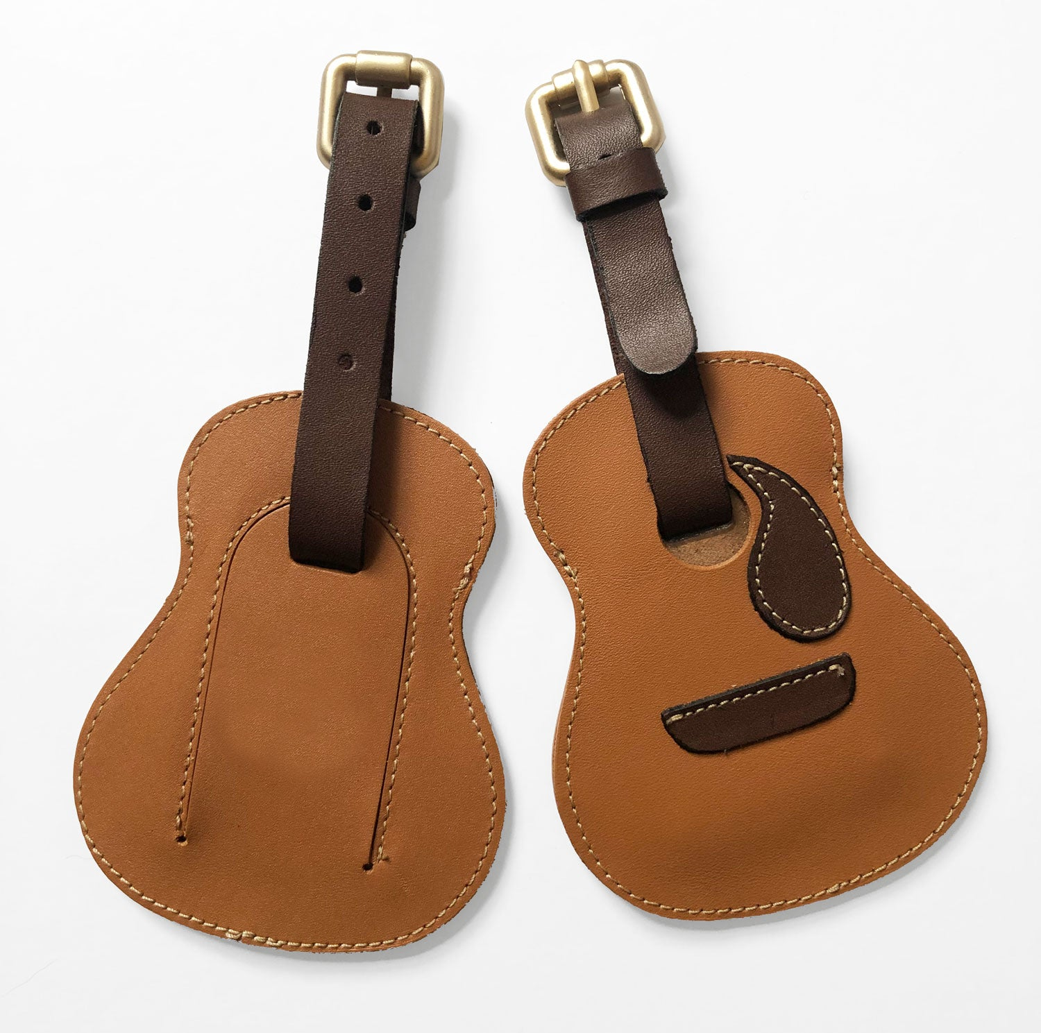 Guitar-shaped Leather Luggage Tags