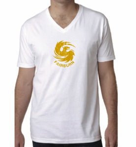 Adult Unisex White/Gold V-Neck Tee