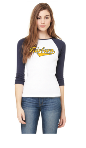 Women's Vintage Baseball Tee - Navy/White with Navy/Gold logo