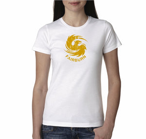 Women's White/Gold Crew Neck Tee