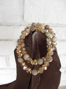 Brown Crystal and Stone Bracelet