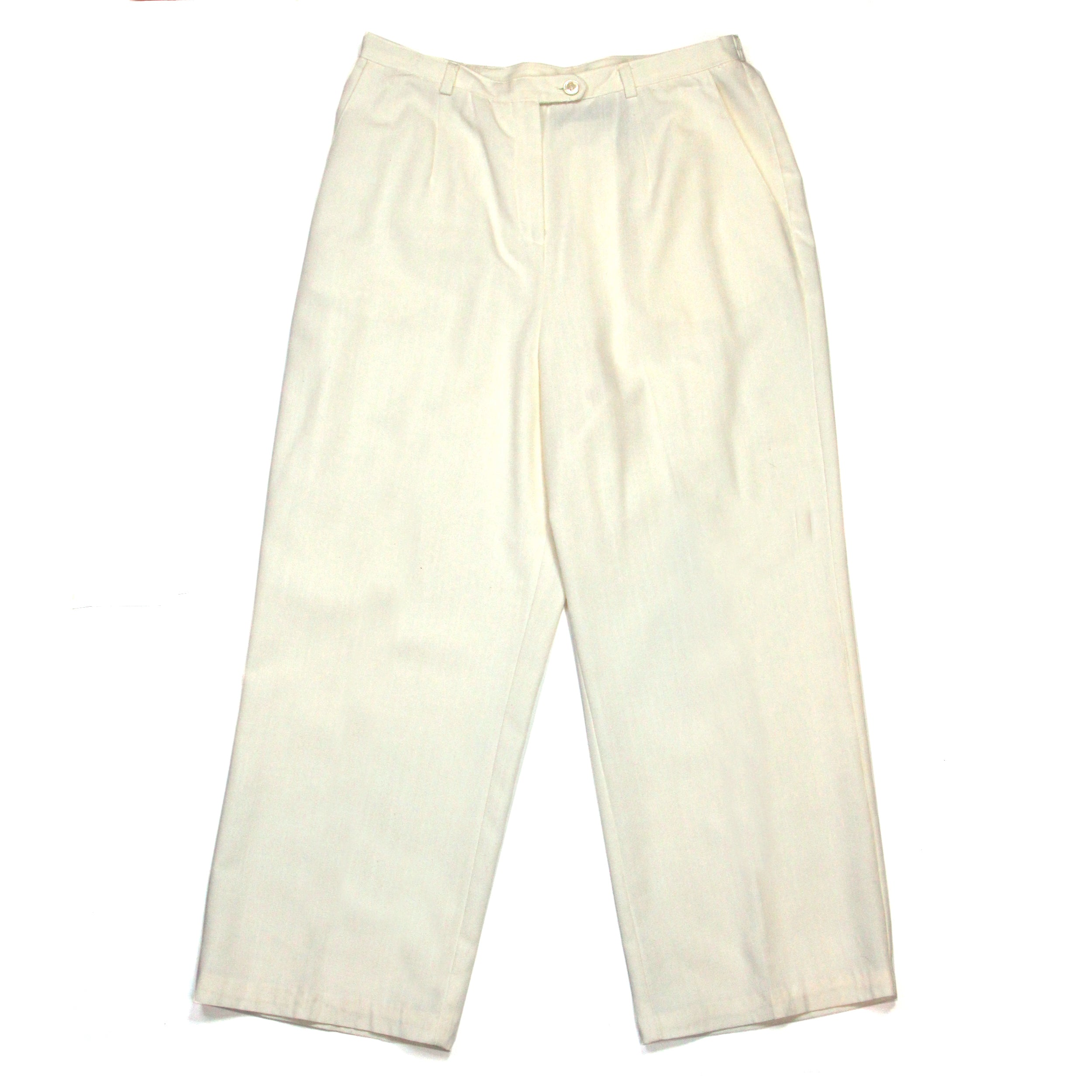 Sag Harbour White Cotton Pants Size L