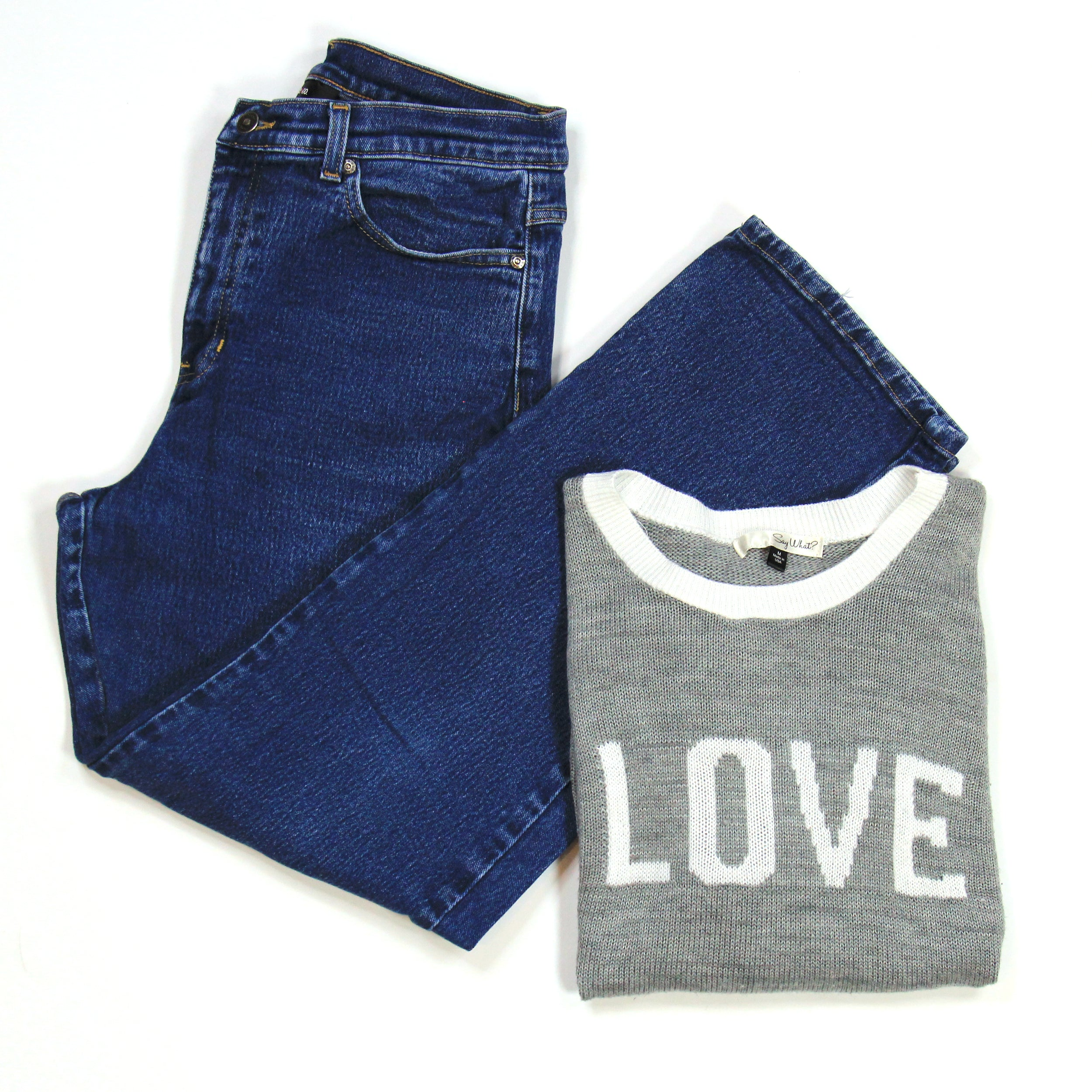 Say What? 'LOVE' Grey Sweater Size M