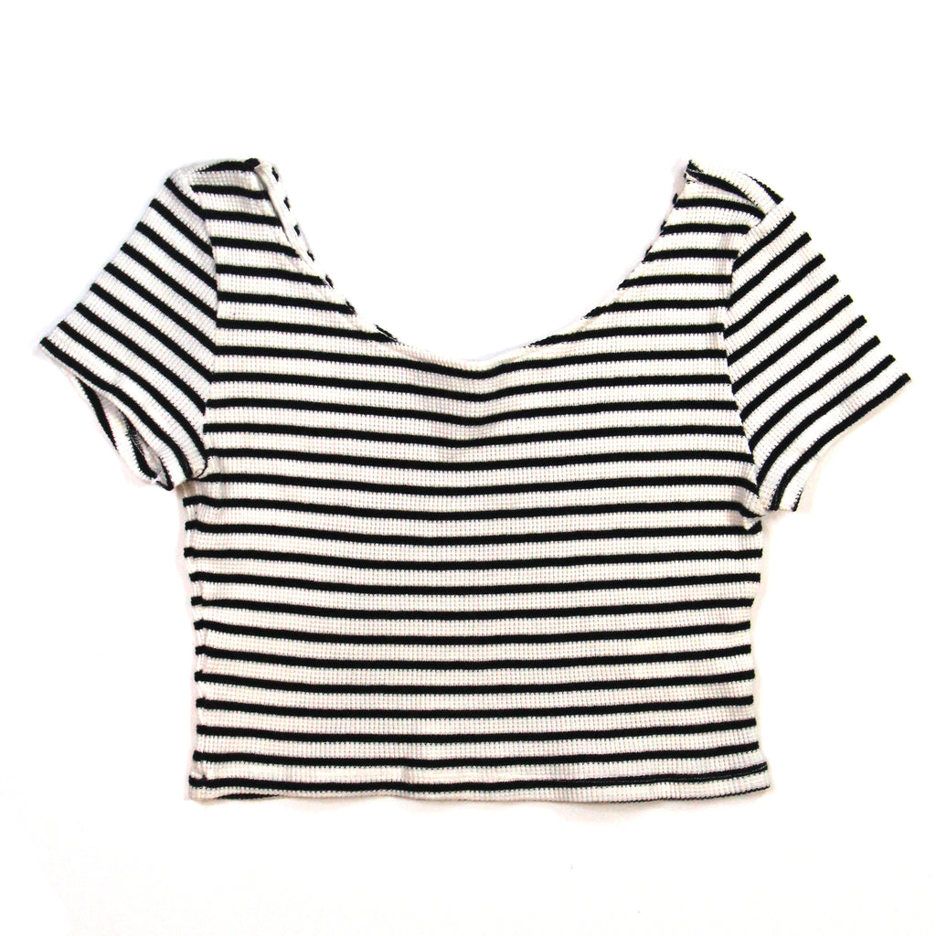 H&M Black and White Striped Crop Top Size M