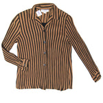 Dress Barn Brown Striped Shirt Size L