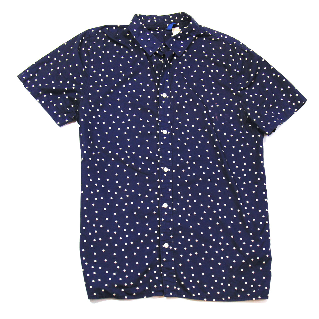 Divided by H&M Blue Dotted Short Sleeve Shirt Size M
