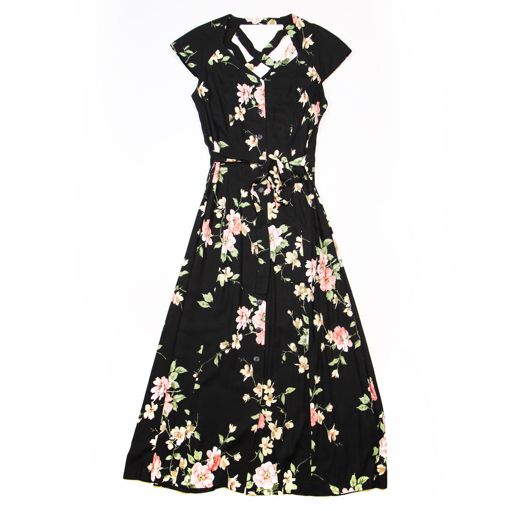 Dress Barn Black Floral Dress Size 10