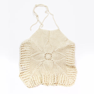 Knitted White Halter Top - XS