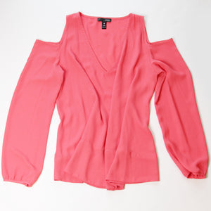 Aqua Coral Long Sleeve Shoulder Cutout Blouse Size M