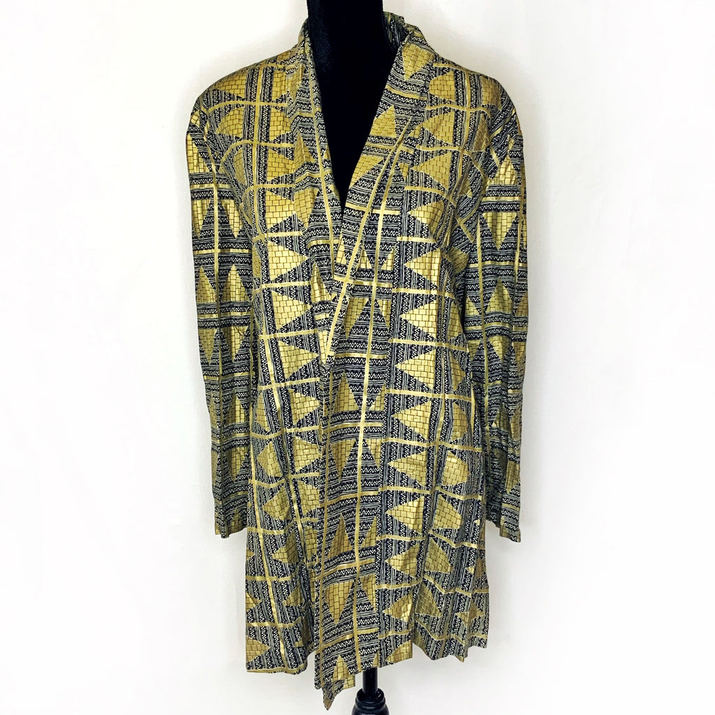 Gold Blazer with Geometric Patterns - One Size