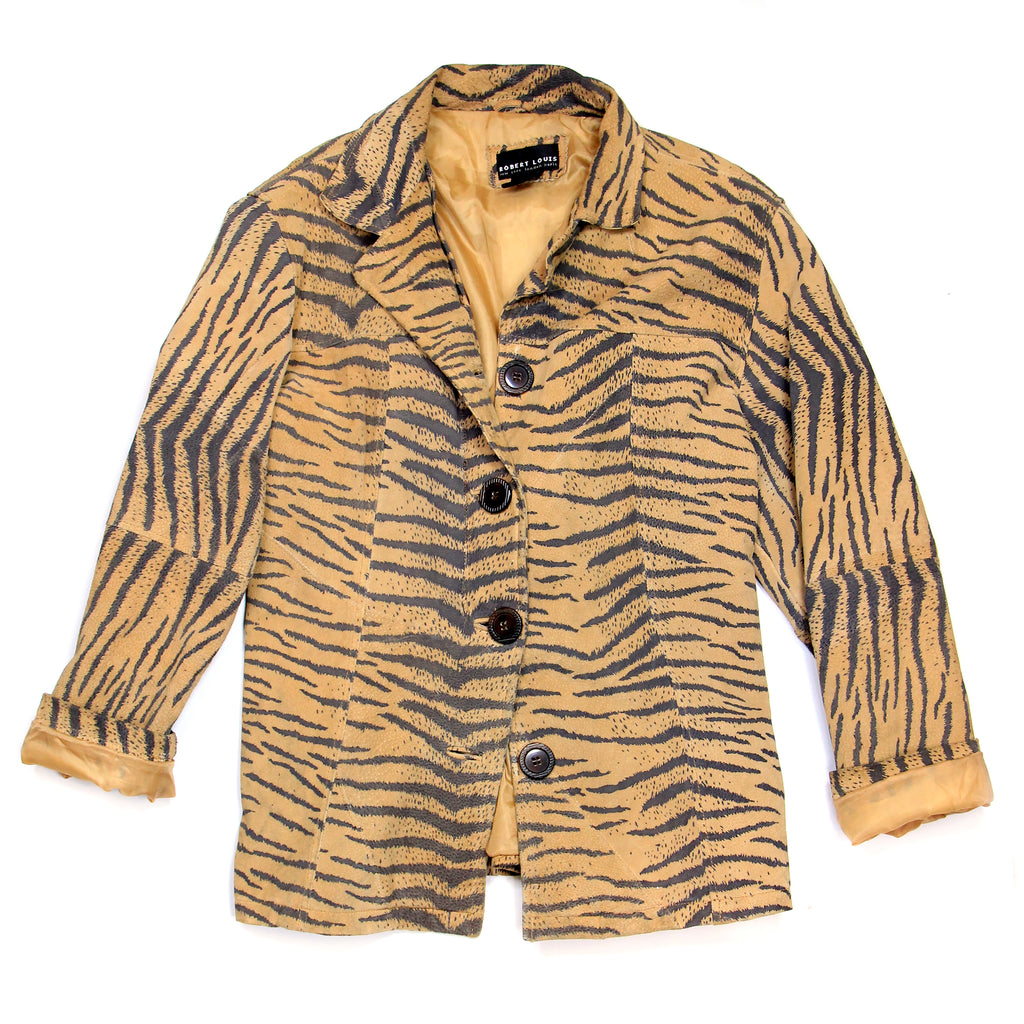 Robert Louis Tiger Print Suede Jacket Size L