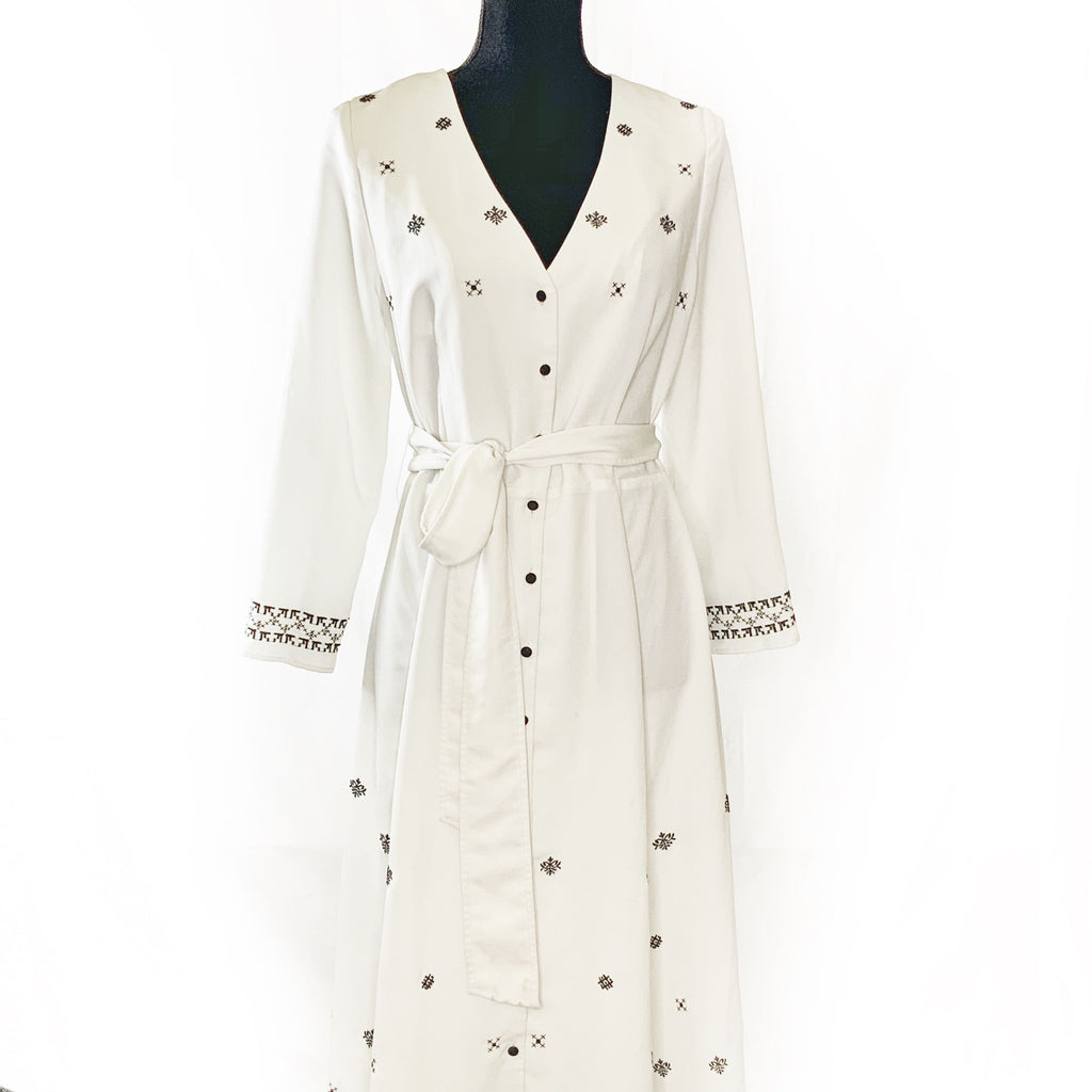 White Patterned Dress Size M