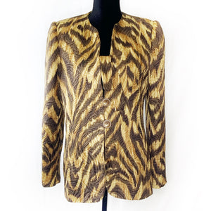 Habit Maker Brown and Gold Patterned Blazer Size L