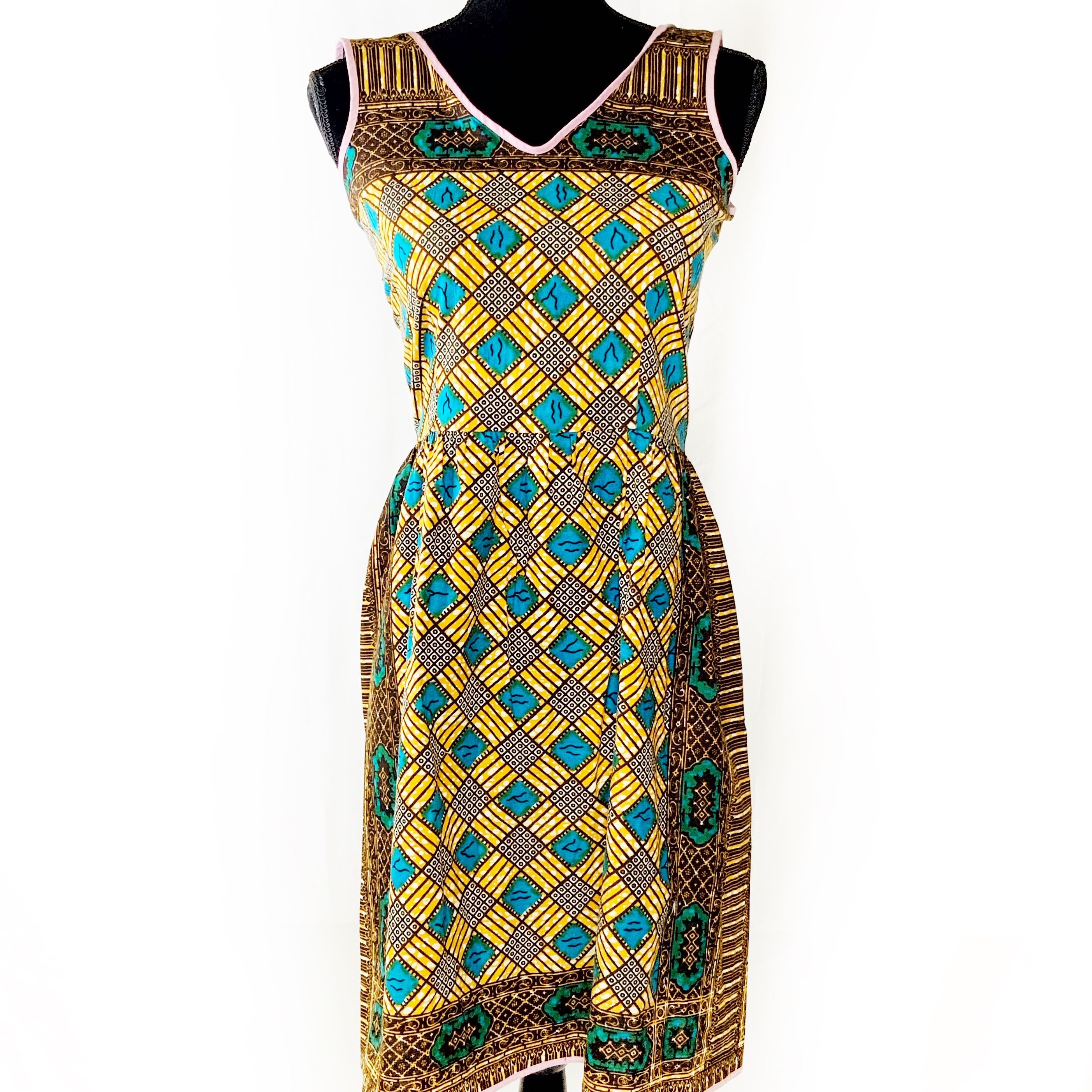 Yellow, Brown and Teal Patterned Dress