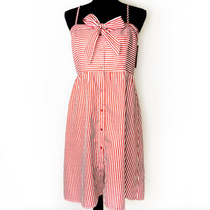 Greek Island Striped Red and White Dress Size M