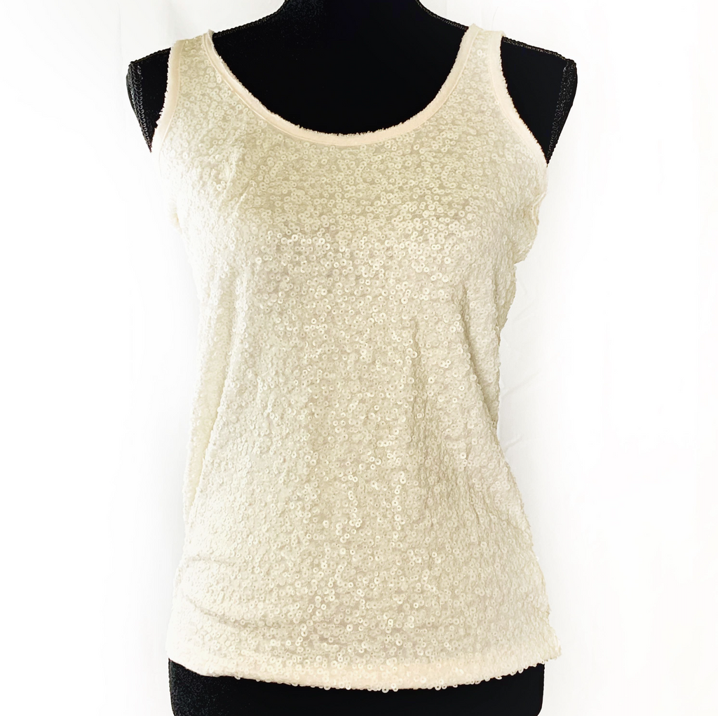 J. Crew White Sequin Tank Top Size S