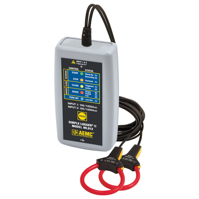 AEMC ML912 Simple Logger II AC Current Data Logger, 100/1000 A