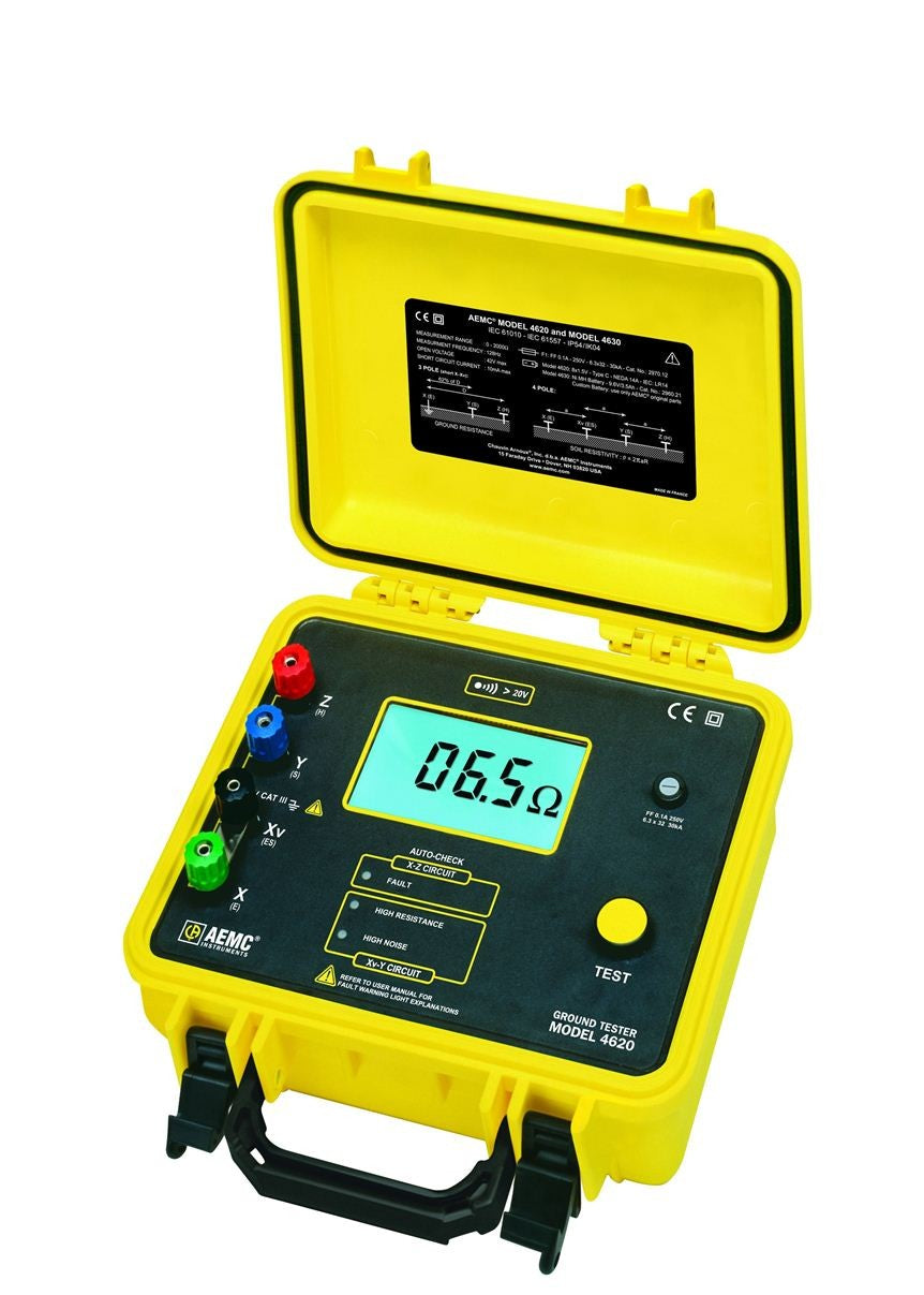 AEMC 4620 Battery Powered Ground Resistance Tester Kit, 4-Point, 500 ft