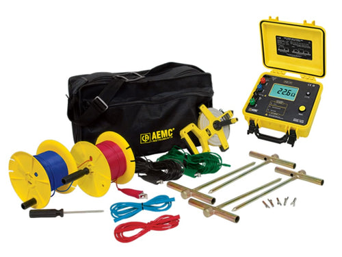 AEMC 4630 Rechargeable Ground Resistance Tester Kit, 4-Point, 500ft