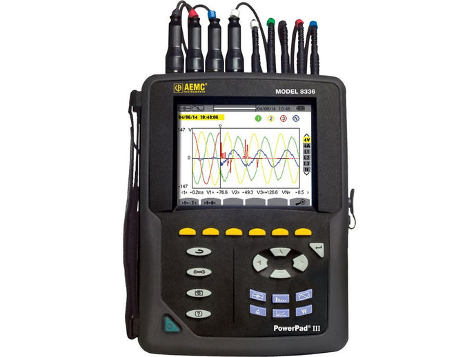 AEMC PowerPad® III 8336 Power Quality Analyzer w/4 AmpFlex® sensors