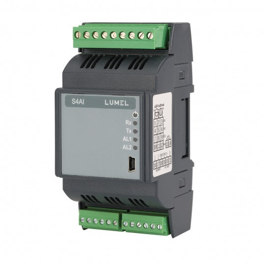 Lumel S4AI - 4 analog inputs Converter into digital RS-485 signal with Modbus protocol.