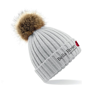Bella Rose Grey Pom Pom Beanie