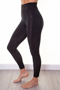 Bella Rose Black Fleece Lined Knee Grip Riding Leggings