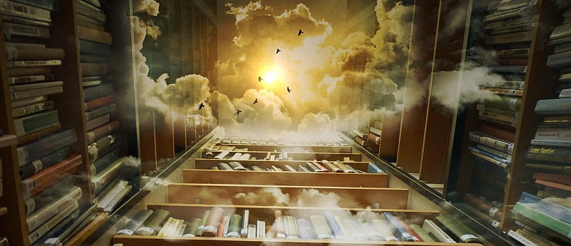 books shelf opeing to heaven with sun and birds