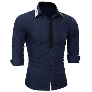 2017 Long Sleeve Mens shirts Solid Dress Shirts Formal Brand Clothing Mens Casual Shirt England Style Fashion Chemise hommeH7674