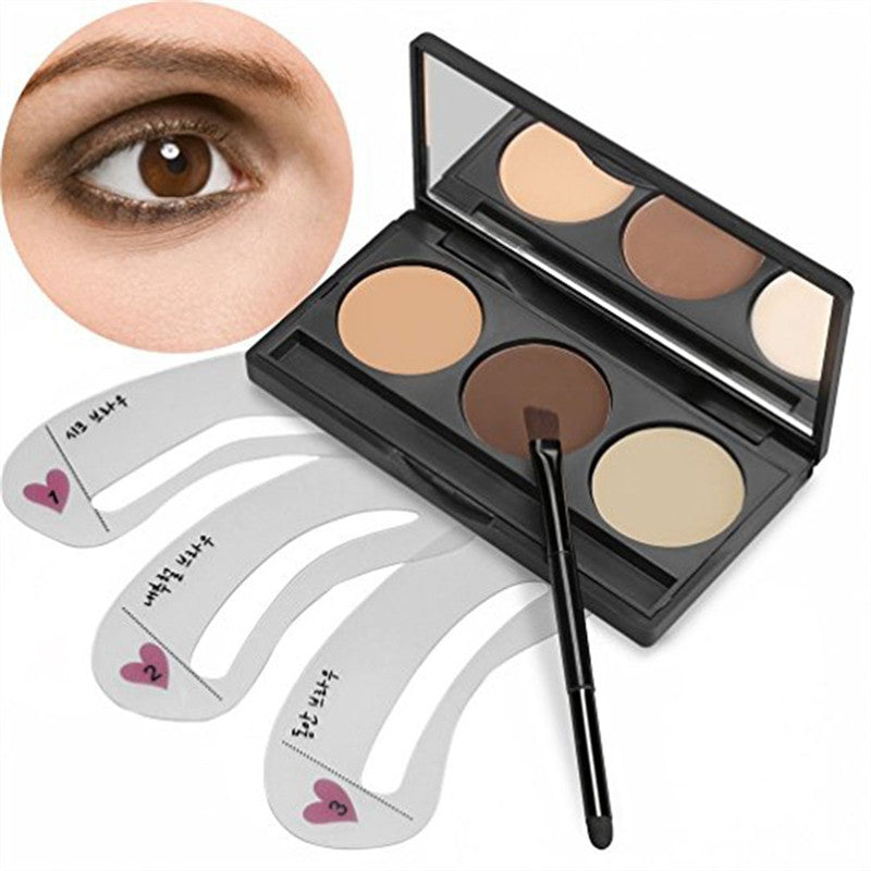 3 Colors Eyebrow Powder Concealer Cosmetics Palette Powder with Mirror and Brush & 3pcs Eyebrow Stencils