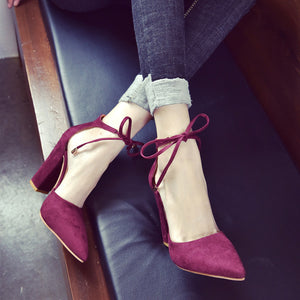 Women Solid Color Pointed Shoes Thick Heel Suede High Heeled Shoes Sandals