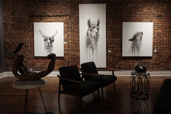 llama art show gallery exhibit by Nashville artist Kristin Llamas at studio 208