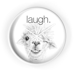 LAUGH llama Wall clock: MAGGIE